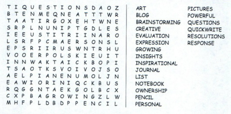word search writing notebooks